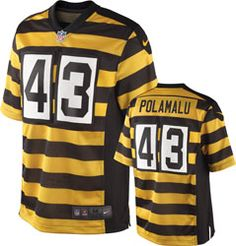 Troy Polamalu Jersey  Alternate Black Gold Striped 1934 Throwback Limited   43 Nike Pittsburgh Steelers d1e2fd1ffbe
