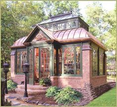 Small brick house with large windows