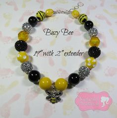 """""""Buzy Bee"""" Chunky Beaded Necklace, Photo Prop, Child, Summer, Spring"""