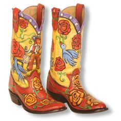 Painted Boot - Cowgirl Bluebirds