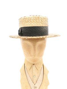 Antique Mens Hat Straw Boater 1920s Shapiro   Brothers Shamokin PA 6 3 4 f9daa3980049