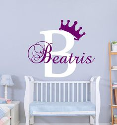 Monogram Name Wall Decals Crown Decal Baby Nursery Wall Decal Name Art Nursery Girl Vinyl Decal Name Sticker Murals Bedroom Decor Name Wall Decals, Name Stickers, Nursery Wall Decals, Nursery Art, Girl Nursery, Vinyl Decals, Vinyl Store, Name Art, Textured Walls