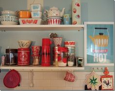 open shelves in the kitchen to display all my vintage dishes!! <3