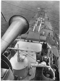 Forward view from atop 8 in heavy cruiser Prinz Eugen's control tower.  A participant in two of the most celebrated naval episodes of WW2 (the Bismarck saga of 1941 and the 'Channel Dash' of 1942), she surrendered intact at Copenhagen in May 1945 and was subsequently expended as a target during US nuclear tests.