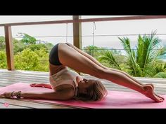 Audio Text: hey guys we are in beautiful Costa Rica I'm at surface de villas in Santa Teresa and I have an awesome yoga sequence free today which is called sunrise surf yoga this yoga sequence is targeted for surfers or anyone that wants to work their shoulders their core and their hamstrings it's