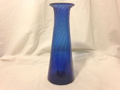 Cobalt Blue Hand Blown Swirl Bud flower Vase Controlled Bubbles Glass Art
