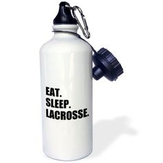 3dRose Eat Sleep Lacrosse - gifts for sport enthusiasts lax crosse black text, Sports Water Bottle, 21oz