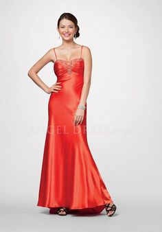 Elastic Silk Like Satin A line Spaghetti Straps Sleeveless Floor Length Empire Prom Gown
