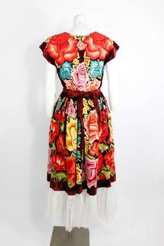 Vintage Frieda Kahlo-style Mexican Embroidered Ensemble   From a collection of rare vintage suits, outfits and ensembles at http://www.1stdibs.com/fashion/clothing/suits-outfits-ensembles/