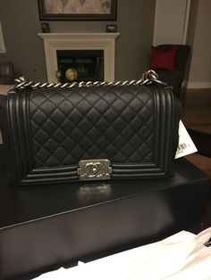 2702384fa8fd0c Chanel medium black boy bag in caviar leather. And the wait is over! My