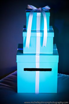 Tiffany & Co. themed card box. save some space if there's more cards at the birthday party than gifts.