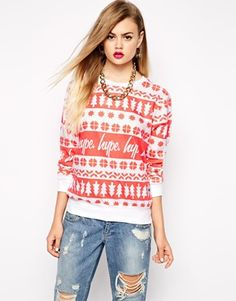 Hype Holidays Sweater With Fairisle Tree Print