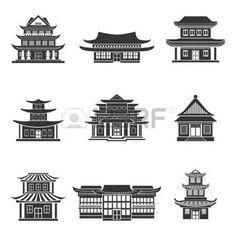 temple chinois: House Chinese temples anciens bâtiments traditionnels orientaux icônes noires définies isolé illustration vectorielle