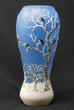 Daum Nancy Enamelled Cameo Acid Cut Glass Vase Winter Snow Birds