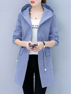 Hooded Flap Pocket Zips Plain Long Sleeve Coats - Look Fashion Coats For Women, Jackets For Women, Clothes For Women, Trendy Outfits, Fashion Outfits, Womens Fashion, Inexpensive Dresses, Inexpensive Clothing, Mode Mantel