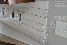How to correctly edge white subway tile with bullnose. Duo Ventures: Kitchen Makeover: Subway Tile Backsplash Installation