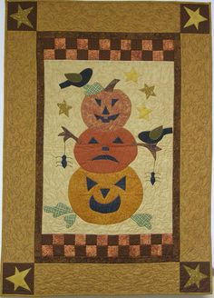 Quilted Wall Hanging Stacked Pumpkins by HollysHutch on Etsy