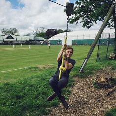 I came to watch the cricket but have spent the whole game on the zip line.