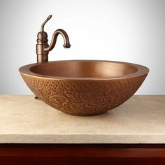 Mahala Round Embossed Copper Double-Wall Vessel Sink - Antique Copper Patina