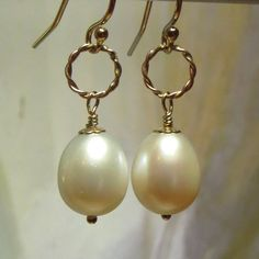 White Freshwater Pearl Drop Earrings with Gold-Filled Twisted Rings by kauainanidesigns on Etsy