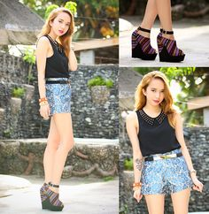 Pinkaholic Studded Collar Top, Props Blue Shorts, Shyshine Stripe Wedges