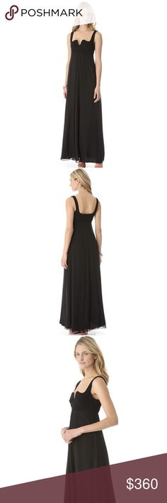 DVF Silk Maxi Dress DVF puts an art nouveau twist on a long black dress, cutting an elegant, deep curve into the neckline. The tailored empire waist counters the cascading silk chiffon skirt, which gains a graceful drape from the inverted pleat at the front. Hidden side zip. Lined.  Fabric: Silk chiffon / plain weave. Shell: 100% silk. Trim: 71% viscose/23%  Dry clean. Imported, China.  MEASUREMENTS Length: 60in / 152.5cm, from shoulder  CONDITION New; never worn Diane Von Furstenberg…