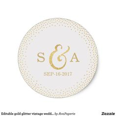 Editable gold glitter vintage wedding monogram classic round sticker Glamour faux glitter gold monogram design and gold dots confetti on Editable off white background, pretty shimmer faux metallic gold glitter effect, modern, chic, elegant and classy, perfect for vintage wedding, art deco wedding or winter wedding. Editable background color to match your wedding theme colors. Custom your own monogrammed sticker add a personal touch to your wedding! See all the matching pieces in this luxe…