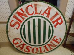 """Vintage Sinclair Gasoline Sign Single Sided 48"""" Porcelain Has the Verticle Bars"""