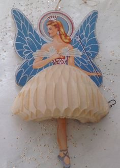 vintage Christmas fairy angel honeycomb decoration ornament