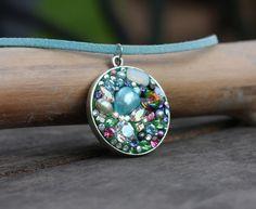 Bejeweled epoxy pendant