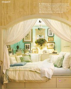 another more stylish alcove bed idea i like the fact that adding some pillows or cushions and some curtains lets the space double as a readingnap nook