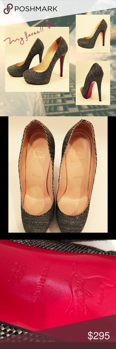 Christian Louboutin Platform Pumps Black/white woven closed toe pumps.  5 inch heel with 1 inch hidden platform.  Some very small fraying at back seam of heel, only detectable from up very close. Christian Louboutin Shoes Heels