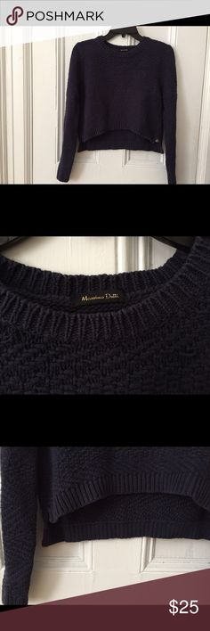 Massimo Dutti crop sweater navy The crop sweater could easily go with a plain shirt under or just wear it straight. I bought it in Germany about a year ago and I had rarely worn it so the condition is still pretty good. Massimo Dutti Sweaters Crew & Scoop Necks