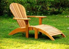 Woodworking 101 Gotta love a chair that forces you to relax~ Teak Adirondack Chair Plans Wooden Patio Chairs, Teak Adirondack Chairs, Adirondack Chair Plans Free, Adirondack Furniture, Rustic Furniture, Garden Furniture, Cool Furniture, Outdoor Chairs, Outdoor Furniture