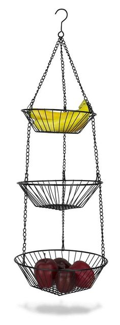 NEW Home Basics 3 Tier Wire Hanging Basket sturdy Black Storing Fruits Kitchen #HomeBasics--I NEED ABOUT 4 OR 5