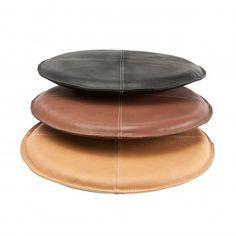 Sitzkissen Glattleder rund    schwarz
