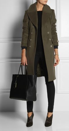 BURBERRY LONDON | Double-Breasted Wool-blend Coat | 1,595 | Worn with: Equipment top, Valentino bracelet, Marc by Marc Jacobs ring, Miu Miu pants, Jimmy Choo boots, Fendi bag.