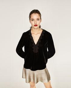 Image 2 of VELVET BLOUSE from Zara
