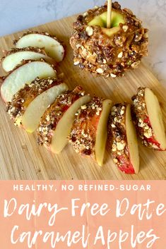 Dairy-free caramel apples made with medjool dates. This date caramel apple recipe is a perfect fall dessert! Easy and healthy vegan caramel apples with no refined sugar! Vegan Caramel, Caramel Recipes, Apple Recipes, Top Recipes, Caramel Apple Cheesecake, Caramel Apples, Gluten Free Treats, Dairy Free Recipes, Vegan Recipes