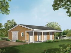 This would be perfect with a change to a gambrel roof to add hay storage above. Horse Barn Plans and Designs   Copyright by designer/architect Drawings and photos may vary slightly.