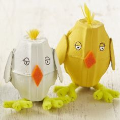 Make these cute egg box chicks in 30 minutes for Easter with your little ones.