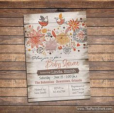 Rustic Baby Shower Invitation, Feather The Nest Invitations, Digital,  Printable Bird Baby Shower