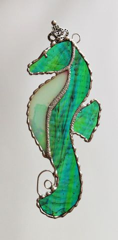 Stained Glass Seahorse Suncatcher Ornament by PineTreeGlassWorks