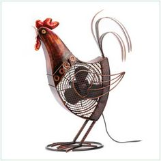 Metal Rooster Fan - Jaunty rooster has a lot to crow about; he's a wonderfully whimsical metal sculpture AND a handy household fan.    A clever combination of fun and function!