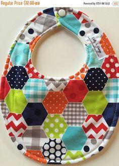 SALE Riley Blake Blue Multi-Pattern Hexagon Baby Bib for Boy