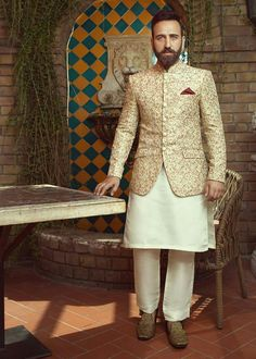 Prince Suit, Asian Bridal Dresses, Modern Groom, Mandarin Collar, Pocket Square, Winter Collection, Classy, Indian, Pure Products