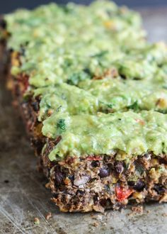 The Most Delicious Meatless Black Bean Loaf with Creamy Avocado Verde Sauce (vegan, gluten free)