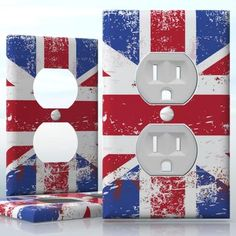 DIY Do It Yourself Home Decor - Easy to apply wall plate wraps | Brushed Union Jack Flag  British England flag  wallplate skin sticker for 1 Gang Wall Socket Duplex Receptacle | On SALE now only $3.95