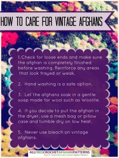 How to care for vintage crochet afghans: More tips on how to wash an care for old afghans