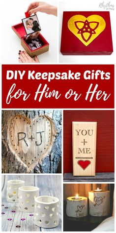 Handmade gifts for him or her are always a hit with loved ones. These DIY Keepsake gift ideas for men and women are perfect for Valentine's Day, weddings, anniversary's, or any other special occasion!
